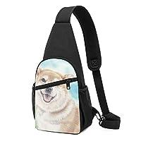 ボディバッグ ワンショルダー 斜めがけバッグ 笑ってる犬 プリント ワンショルダーバッグ ボディーバッグ メンズ レディース 軽量 大容量 通勤通学旅行