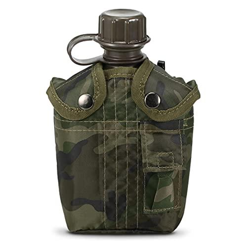 1L al aire libre Militar Cantina Botella Camping Senderismo Mochila Supervivencia Botella de Agua Hervidor con Cubierta Cantina Hervidor
