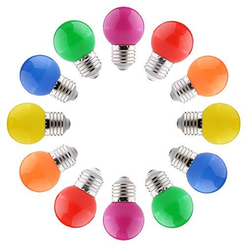 12 X Deko Glühbirne Bunte Leuchtmittel E27 G45 Led Glühbirnen 2W, Gemischte Farben, Energiesparend, für Zimmer, Weihnachten Baum, Party Nachtlichter