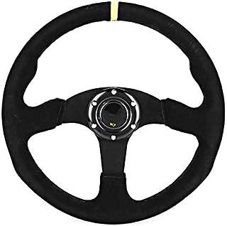 14In Universal Black Suede Car Racing Steering Wheel For Car Modification Racing Steering Wheel Car Accessories