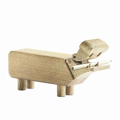 Kay Bojesen Flusspferd aus Holz, kleine Holzfiguren Deko, Elefanten Tier Deko Figur, Holzfiguren Deko, Eiche