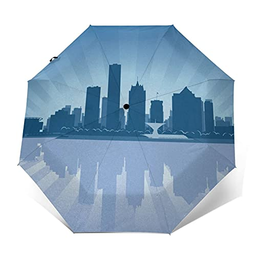 Ombrello Portatile Automatico Antivento, Ombrello Pieghevole Compatto, Folding Umbrella, Baldacchino...