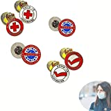 6PCS - Vaccine Metal Brooches Badge - Vaccinated COVID-19 Coronavirus enamel Lapel Pin, Alloy Vaccinated Pin Buttons, Brooch Vaccinated Memorial for Bag Shirt