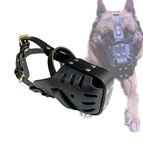 XXDYF Maulkorb für Hunde, Verstellbare Leder-Maulkorb für Hunde, Vermeidert Beißen, Bellen und Essen