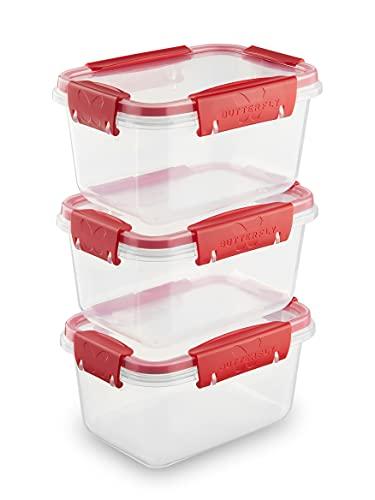 Juego de 3 recipientes de almacenamiento con tapa (3 x 0,75 L), 100 % herméticos y a prueba de fugas, de -40 a +100 grados, plástico libre de BPA, almacenamiento para alimentos, apilables