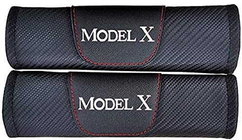 2 Piezas Coche Almohadillas para cinturón de seguridad Para Tesla Model X,con Emblema Hombro Respirable Confort Protector Interior Estilo Accesorios