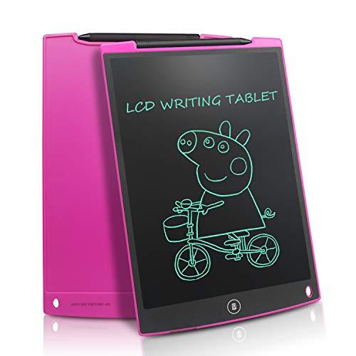NEWYES Tavoletta Grafica LCD, 12 Pollici Tablet da Disegno Lavagna Elettronica Scrittura Digitale, Diversi Colori per Bambini(Rosa)