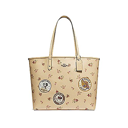 COACH REVERSIBLE CITY ZIP TOTE WITH FLORAL MIX PRINT AND MINNIE MOUSE PATCHES F29359, VANILLA MULTI/SILVER