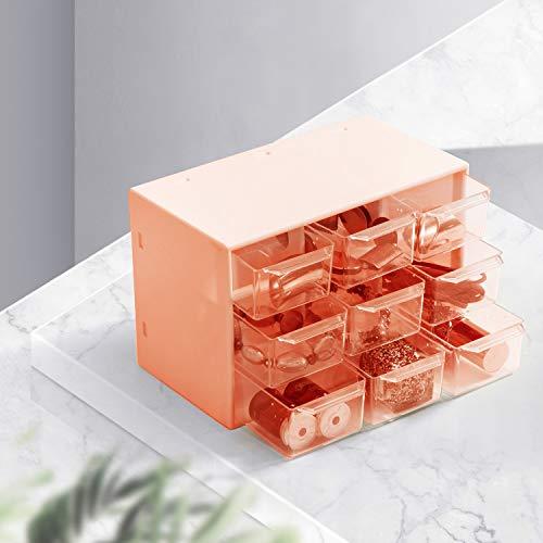 Xnuoyo 9 Griglie Scatola Portaoggetti Antipolvere, Mini cassettiera in plastica Trasparente con 9 cassetti per Nove Griglie Quadrate Cassetto Piccolo Cassetto Classificazione