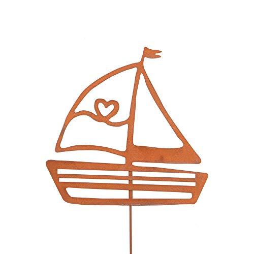 Gartendeko Gartenstecker aus Edelrost Metall Segelboot Mittel für Garten Terrasse oder Balkon