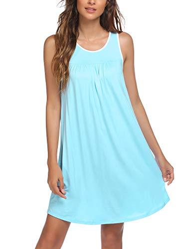 Ekouaer Women's Nightgowns, Sleeveless Night Shirts Comfy Tank Sleep Dress Jersey Chemise Loose Sleepwear Soft Sleepshirt Blue