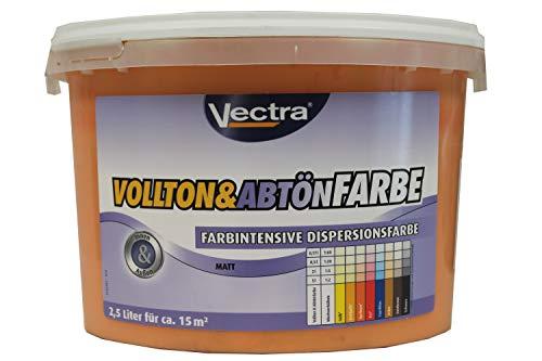 Vectra Vollton & Abtönfarbe Farbintensive Dispersionsfarbe innen/außen Matt Aprikose 2,5 Liter