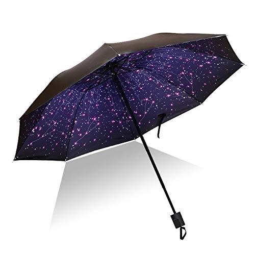 Mdsfe Hochwertiger Regenschirm Mann Regen Frau Winddicht 3D Blumendruck sonnig Anti Sonne 3 Klappschirm Außenschirm - wie Bild9