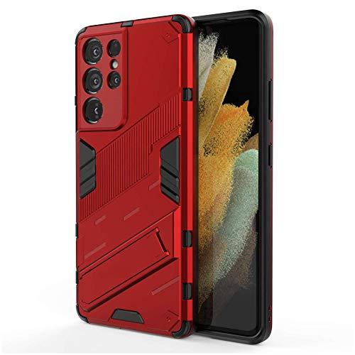 Fadter Custodia per Samsung Galaxy S21 Ultra Cover 360 gradi con supporto Case per Samsung S21 Ultra 5G Cover Silicone Premium PC e TPU Cover per Samsung S21 Ultra (rosso)