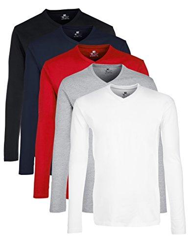 Lower East Herren Langarmshirt mit V-Ausschnitt, 5er Pack Mehrfarbig (Schwarz/Weiß/navy/Grau/Rot Schwarz/Weiß/navy/Grau/Rot),XX-Large