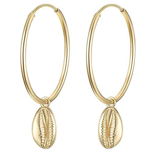 Glanzstücke München Damen-Ohrcreolen Muschel Sterling Silber gelbvergoldet - Creolen hängend für Frauen maritim gelb-gold