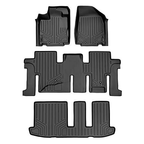 SMARTLINER All Weather Custom Fit 3 Row Black Floor Mat Liner Set Compatible With 2013-2020 Nissan Pathfinder/ 2013 Infiniti JX35/ 2014-2020 Infiniti QX60