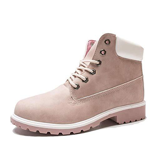 N\C Botas de invierno de las mujeres zapatos de piel caliente de felpa zapatillas de deporte de las mujeres botas de nieve de las mujeres de encaje hasta el tobillo