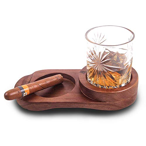 Whiskey Glass Tray and Cigar Holder, Rustic Wooden Cigar Tray, Slot to Hold Cigar, Cigar Rest, Cigar Accessory Set Gift for Men, Glass and Cigar NOT Included