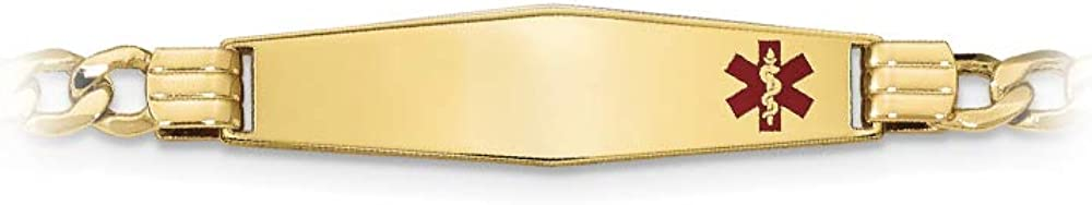 14k Yellow Gold Medical Personalized ID Bracelet with Lobster Clasp