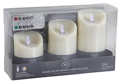 Coffret 3 bougies LEDs parfumées avec télécommande Vanille