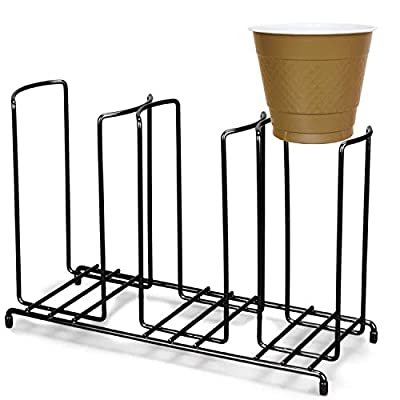 TigerChef 3-Section Cup and Lid Organizer Wire Rack with Disposable Plastic Party Cups and Breakroom Organizer Countertop Cup Dispenser by Tiger Chef