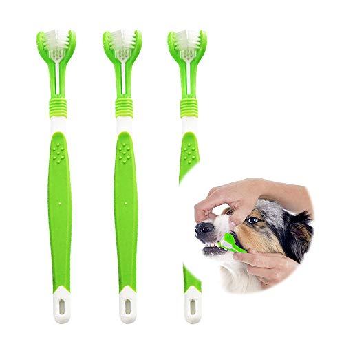 KTL Hundezahnbürste, Hundezahnbürste für Haustierzahnpflege, Dreifach-Kopf-Zahnbürste, einfache Mundpflege, perfekt für mittelgroße und große Hunde (3 Stück)