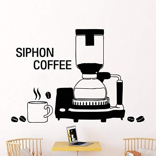 Koffie Shop Vinyl Muursticker Koffiemachine Café Cup Citaat Siphone Koffie Art Muursticker Koffie Shop Raam Decoratie 56 * 74cm