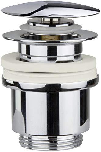 Universal Ablaufgarnitur Pop Up Ventil – ohne Überlauf fürs Waschbecken & Waschtisch - Chrom Ablaufventil Abflussgarnitur - Waschbecken Stöpsel Ablauf inkl 3 Dichtungen für gängige Waschbecken