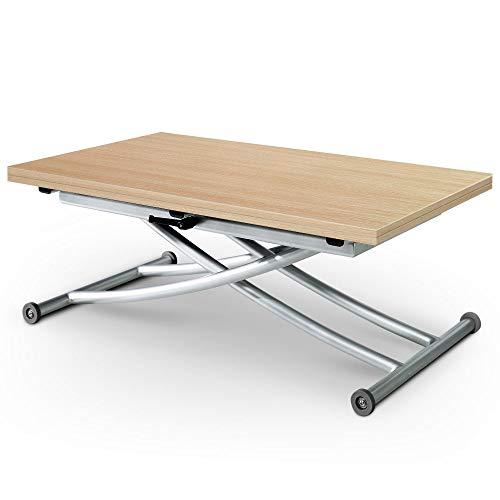 Menzzo Table Basse relevable Carrera, Chêne Clair, Plateau depliable avec Hauteur Ajustable pour Salon, Salle à Manger ou Cuisine