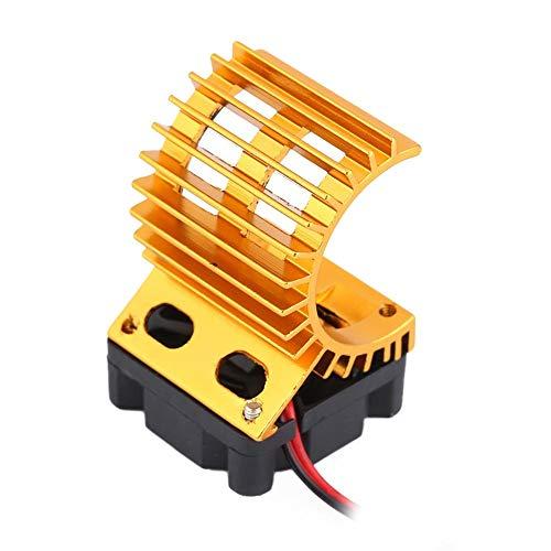Dilwe RC-Motorkühlkörper mit Lüfter, RC-Kühlkörper-Lüfter für 1/10 Elektrische RC-Car-380/390-Motor-Upgrade-Zubehör( Gold)
