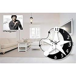 Allequal Silent Wall Clock Moon Stars Wall Clock Black White Wooden Modern Fashion Salon Clocks House Mute Clock Wall Decoration Gift
