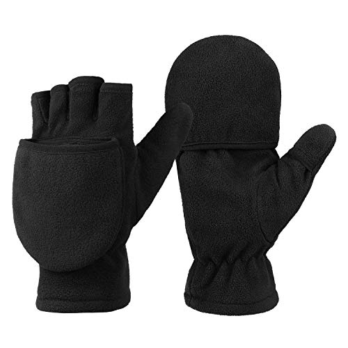 OZERO Damen Winterhandschuhe, Fingerlose Thermo Fahrradhandschuhe Reithandschuhe Motorradhandschuhe, Schwarz, S