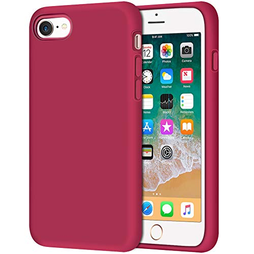 iPhone 8 Case, Anuck Non-Slip Liquid Silicone Gel Rubber Bumper Case with Soft Microfiber Lining Cushion Hard Shell Shockproof Full-Body Protective Case Cover for Apple iPhone 7/8 4.7' - Rose Red