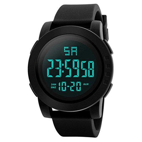 Zarupeng Smart Sportuhren, Herren Analog-Digital-LED Watch Outdoor Fitness Armbanduhr (One Size, Black)