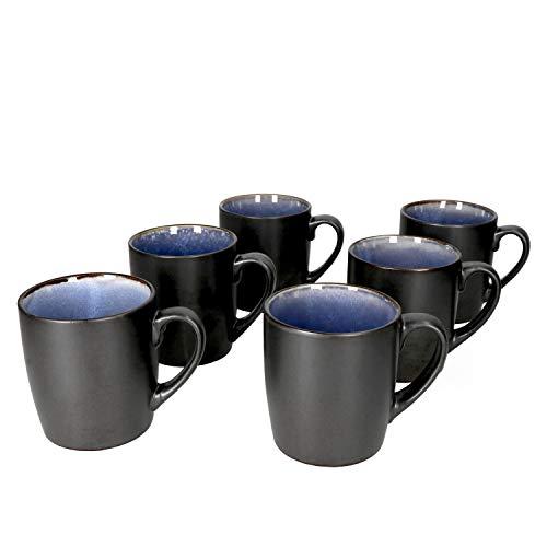 MamboCat Reactive Blue 6er Kaffeebecher-Set I moderne Kaffeetassen aus Steingut für 6 Personen - robust & handgefertigt I 6x große Tee-Tasse - Design in Kupfer-Optik schwarz-blau I Tassen-Set 6er