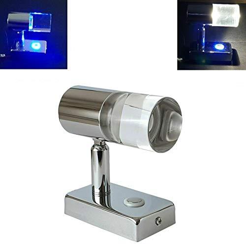 LED-Leselampe, 12 V, 24 V, Strahler, 1 W, mit blauem Nachtlicht-Touch-Schalter für Wohnwagen, Wohnmobil, Wohnmobil und Boot