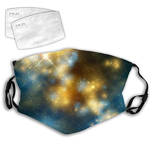 MOSDELU Cute Face Warmer with Replaceable 5 Layer Filter Dustproof Reusable Mouth Nose Cloth-Glowing Space Galaxy
