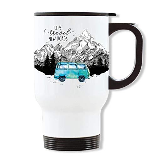 Wandtattoo Loft Thermobecher weiß mit Griff Schriftzug Let`s travel New Roads Bus Surfbus Bulli Bedruckt