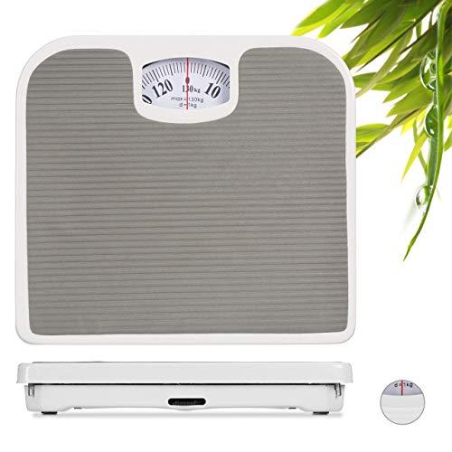 Relaxdays, grau Personenwaage, Körperwaage, Waage analog, für Personen bis 130 kg, präzise, BxT: 26,5 x 24 cm