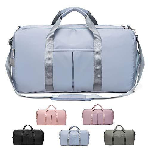FEDUAN das Original, Sporttasche Reisetasche modisch wasserdicht mit Schuhfach Nassfach für Damen und Herren Yoga Pilates Strand Freizeit Sauna Gym-Tasche Shopping-Bag Weekender Urlaub (XL Ice-Blau)