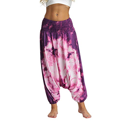 Lazzboy Frauen Beiläufige Lose Yoga Hosen Baggy Boho Jumpsuit Pants Damen Haremshose Aladinhose Leichte Rock Lang OneSize Viele Farben(Pink,M)