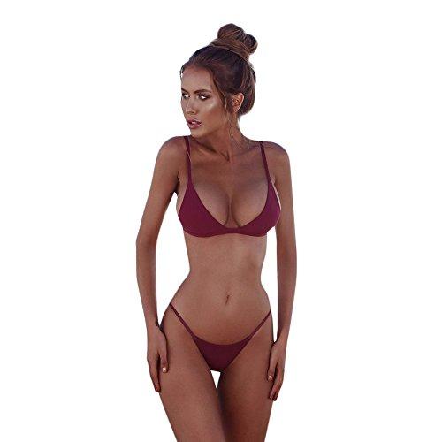 Yebutt Klassische Feste Farbe Gepolsterter BH String Thong Bikini Bademode Bikini, Zweiteiler Damen Bikini Sets Bademode Badeanzug