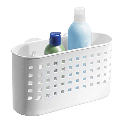 iDesign Duschablage mit Saugnapf, großer Duschkorb ohne Bohren aus Kunststoff, Seifenablage mit Ablauföffnungen für die Dusche, weiß
