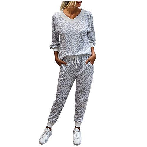 CHIYANG Damenmode Sportanzug Traningsanzug Damen Sweatjacke Vintage Kapuzenpullover Legging Leopard Druck mit V-Ausschnitt Langarm-beiläufigen Frauen Anzug