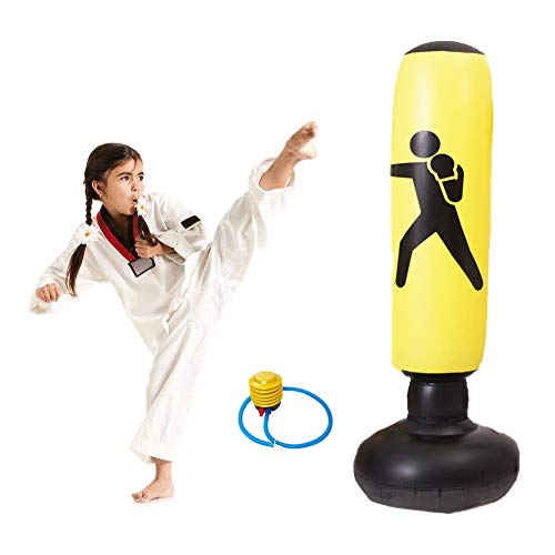 Zware bokszakken, vrijstaande bokszak Boksen met luchtpomp voor kinderen volwassenen 160cm,Yellow