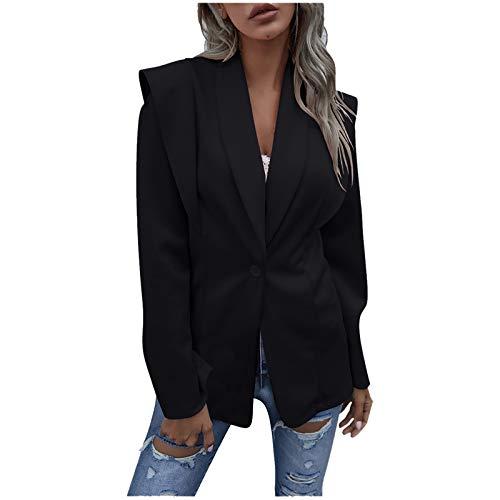 Preisvergleich Produktbild Plantb Anzugjacke Damen Elegant Langarm Blazer Einfarbig Mode Slim Fit Revers Geschäft Jacke lässig Oberteil (Schwarz,  XL)