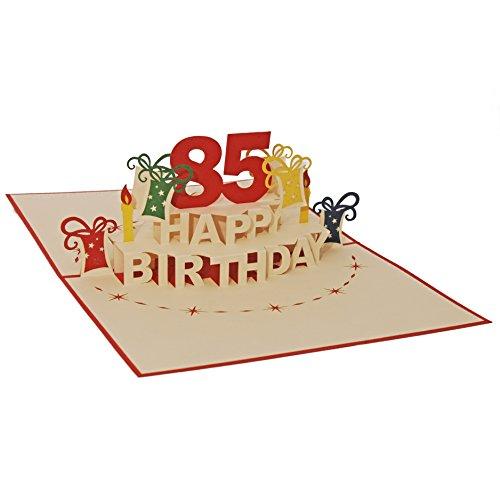 Favour Pop Up Glückwunschkarte zum runden 85. Geburtstag. Ein filigranes Kunstwerk, das sich beim Öffnen des gestalteten roten Umschlags entfaltet. TA85R