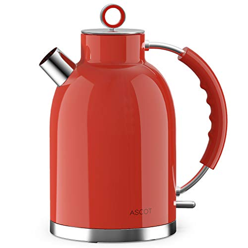 Electric Kettle,ASCOT Electric Kttle Stainless Steel Tea Kettle Fast Boiling Water Heater 1.7L, 1500W, BPA-Free, Cordless, Automatic Shutoff, Boil-Dry Protection, Red