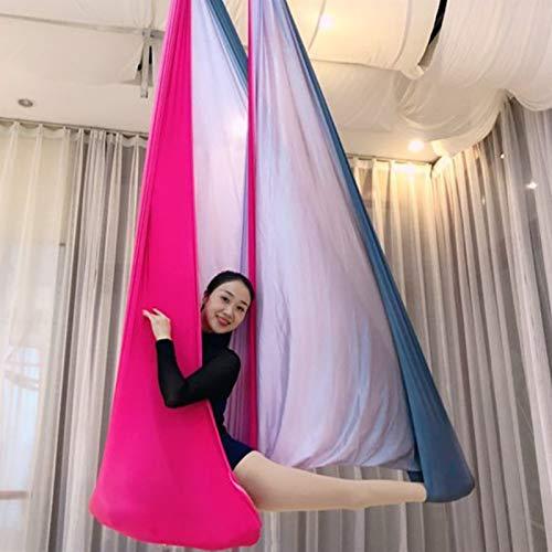 WWL Aerial Silk Elástica Yoga Hamaca Columpio Yoga Aéreo, Hamaca Nailon Color Herramienta Inversión Eslinga Hamaca Yoga Antigravedad Ultra Fuerte para Gimnasio Casa Color Silk Yoga Swing para